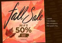 Autumn Fall Sale Instagram Post Template Element Set