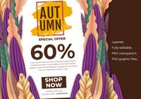 Autumn Sale Banner Layout Template Decorate With Forest Background Promotion Poster