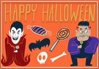 Fantastischer glücklicher Halloween-Illustrations-Element-Satz