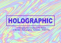 4 estilos holográficos de gradiente PS - archivo PSD completo