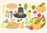 Handdragen Thanksgiving Elements