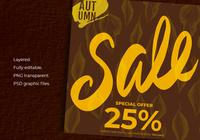 Autumn Sale On Hintergrund von Autumn Leaves Template
