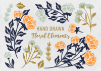 Handdragen botaniska element