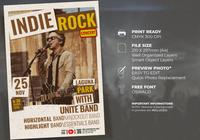 Indie Rock Music Concert Poster Premium Template