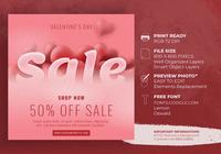 Fondo de venta de día de San Valentín con plantilla en forma de corazón