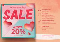 Affiche Instagram vente Saint Valentin avec fond élément coeurs