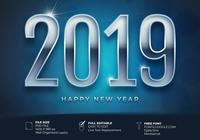 New Year 2019 With Backlight Background Card Template