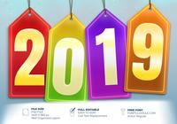 Happy New Year 2019 Creative Greeting Label Design Element