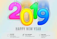 Simple Greeting Card Happy New Year 2019 Text Effect Template