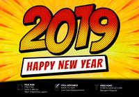2019 Happy New Year Pop Art Style Text Effect