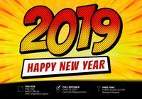 2019 Feliz Ano Novo Estilo Pop Art Efeito De Texto