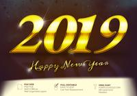 Happy New Year 2019 Shiny Text Written In Gold Background Text Effect