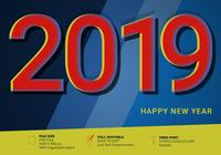 2019 Happy New Year Élément effet de texte vintage Pop Art