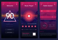 Retrowave UI Kit. Kit Móvel Newwave UI