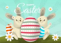 Vintage Easter Bunny Character With Eggs PSD Illustration