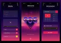 retrowave ui kit. newwave ui mobile kit