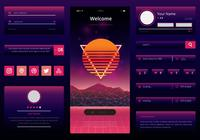 Retrowave UI Kit. Kit móvel da interface do usuário da Newwave